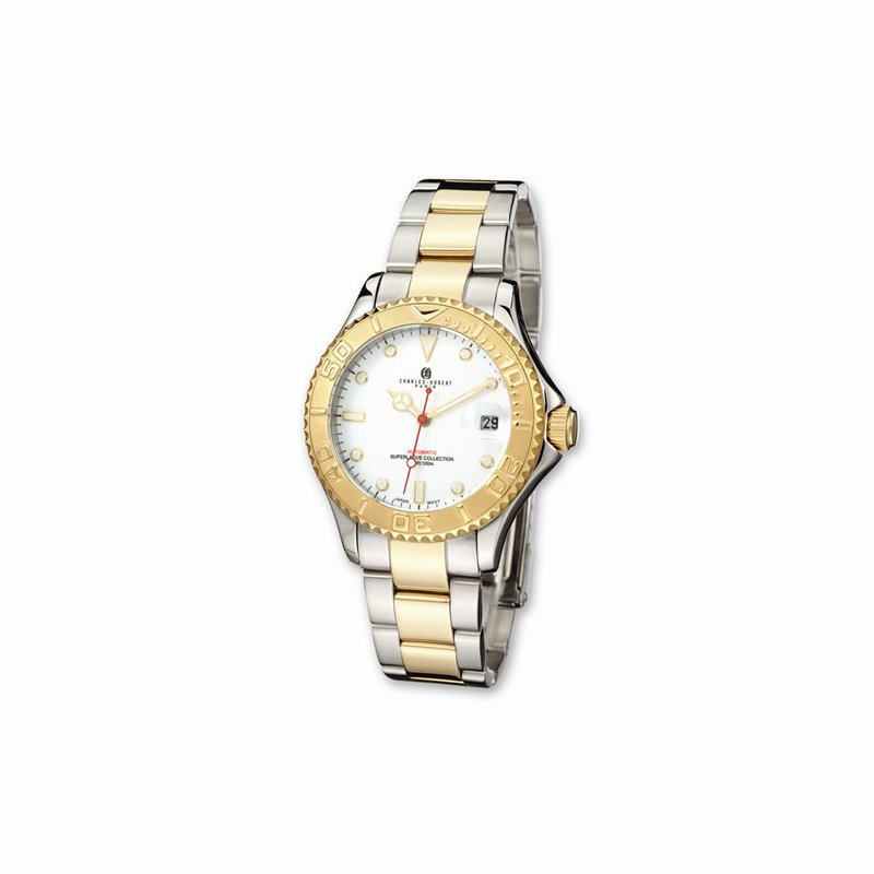 Charles Hubert IP plated two tone white dial watch