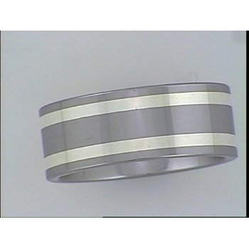 Tungsten Carbide Pipe cut Band with Silver inlay