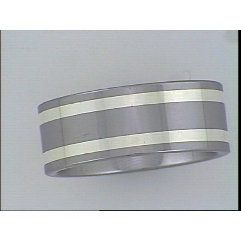 What's On Sale? Tungsten Carbide Pipe cut Band with Silver inlay