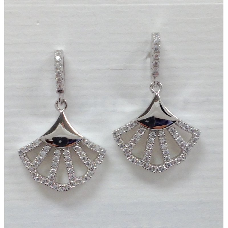 Showcase Collection Sterling Silver Fan Shaped Earrings