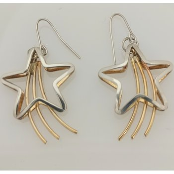 Sterling Silver and Gold Filled Star Earrings