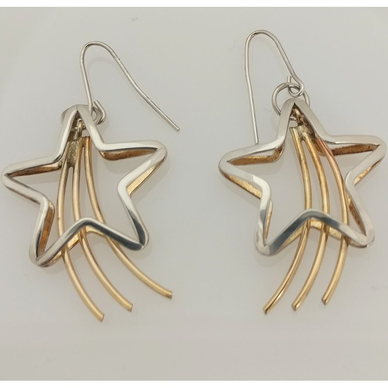 Estate Specials Sterling Silver and Gold Filled Star Earrings