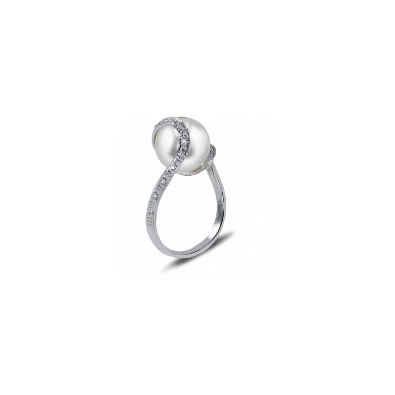 Showcase Collection 14KW FW Pearl Ring with Diamonds