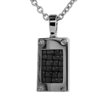 Men's Titanium and Leather Pendant - Edward Mirell N103A