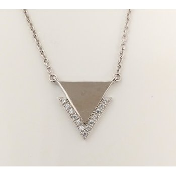 Sterling Silver Triangle Necklace with CZ Accents