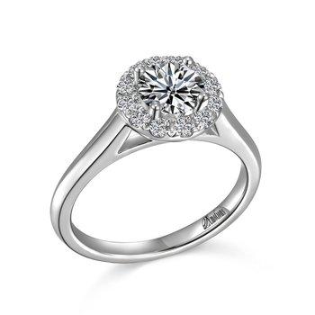 14KW Semi Set Halo Engagement Ring