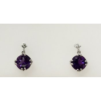Amethyst Drop Earrings with Diamond Accents