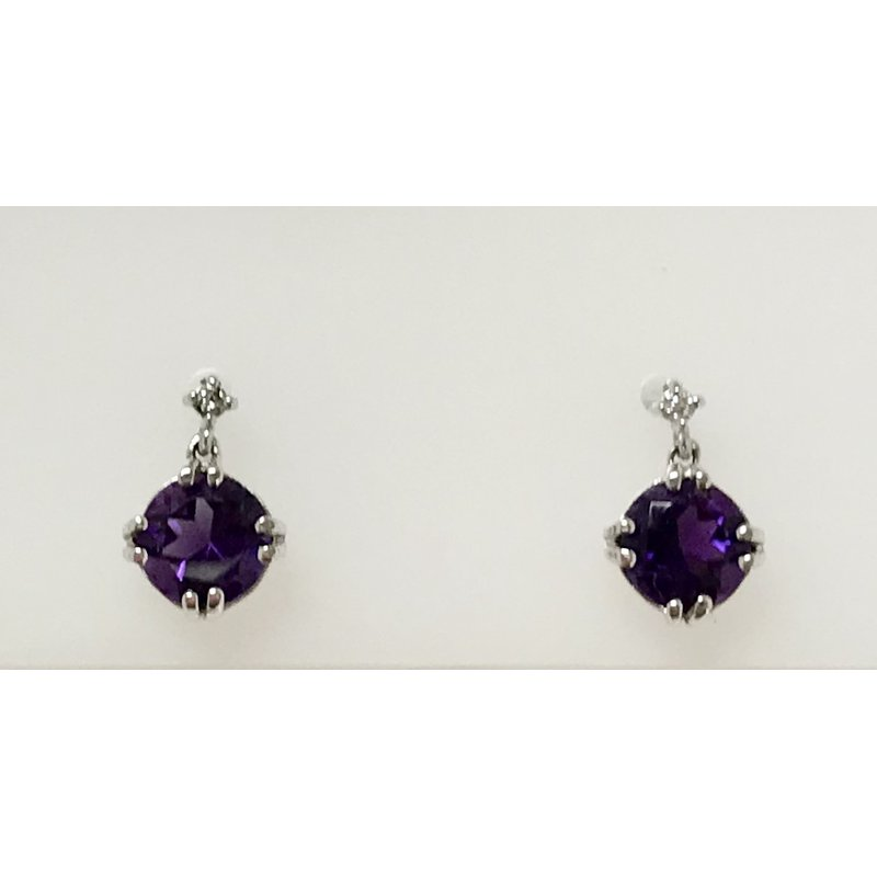 Showcase Collection Amethyst Drop Earrings with Diamond Accents