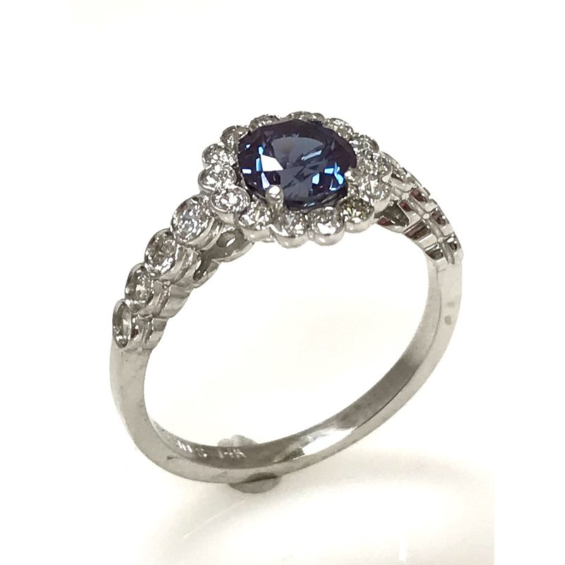 Estate Specials 14KW Lab Grown Alexandrite and Diamond Ring