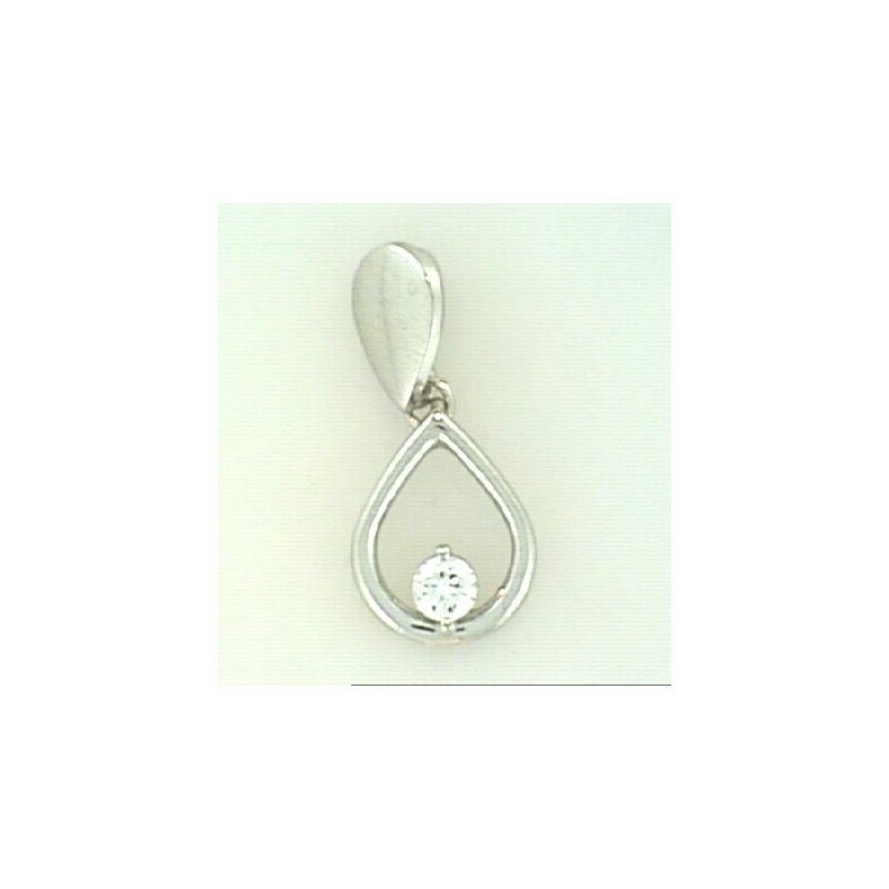 Showcase Collection 14KW Tear Drop Pendant with Diamond