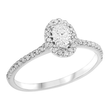 14KW Oval Halo Engagement Ring