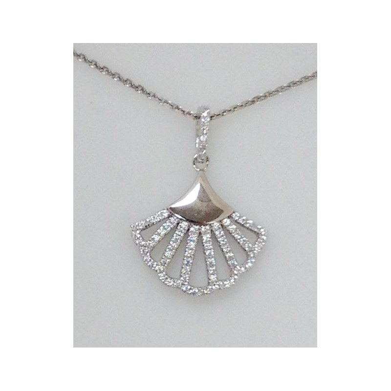 Showcase Collection Sterling Silver Fan Shaped Pendant