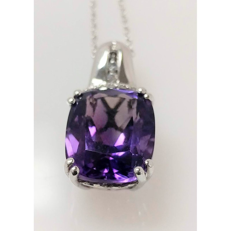 Showcase Collection Amethyst Pendant with Diamond Accents