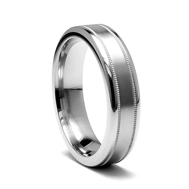 Grandis Signature Gray Titanium Satin 6mm Men's Wedding Band - Edward Mirell