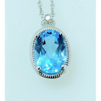 Blue Topaz Pendant with Diamond Accents