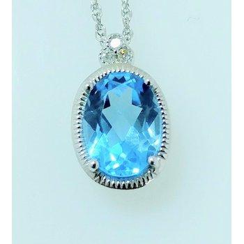 Blue Topaz Pendant with Diamond Accents