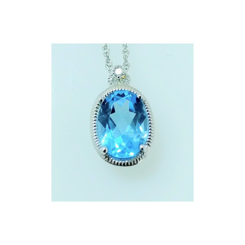 Showcase Collection Blue Topaz Pendant with Diamond Accents