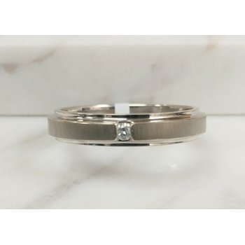 10K White Gold Gents Diamond 0.05 Carat Matte Finish Band