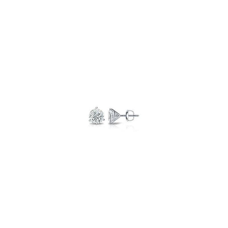 Fire and Ice 14KW Diamond Stud Earrings