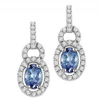 Oval shaped genuine Tanzanite with Diamond Earrings