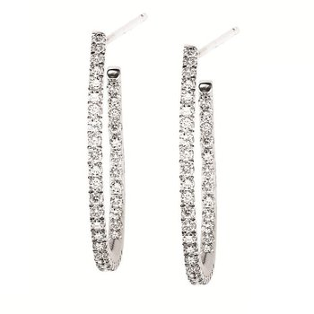 14K White Gold and 0.50ctw Diamond Hoop Earrings   gjFE1157
