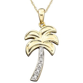 Palm Tree Pendant with Diamond Accents