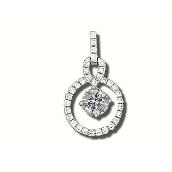 14KW Diamond Circle Pendant