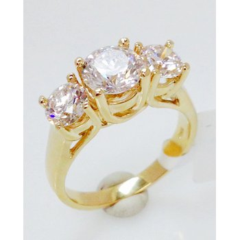 14KY 3 Stone Trellis Ring