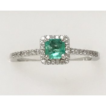 Emerald Ring with Diamond Accents