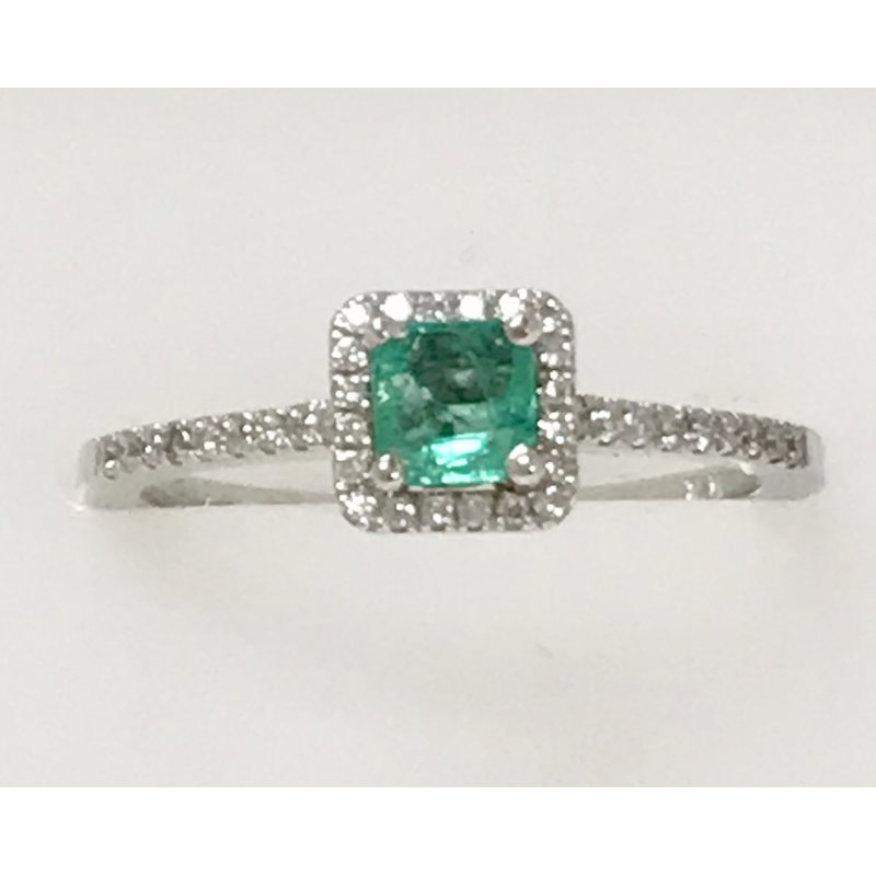 Showcase Collection Emerald Ring with Diamond Accents