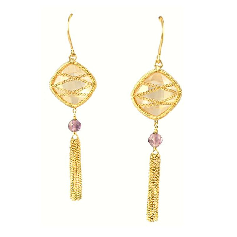 Grandis Signature 14K Gold Filled Rose Quartz and Amethyst Dangle Earrings  GJWEP9321-RQ