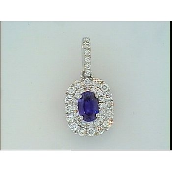 Double Halo Sapphire Pendant