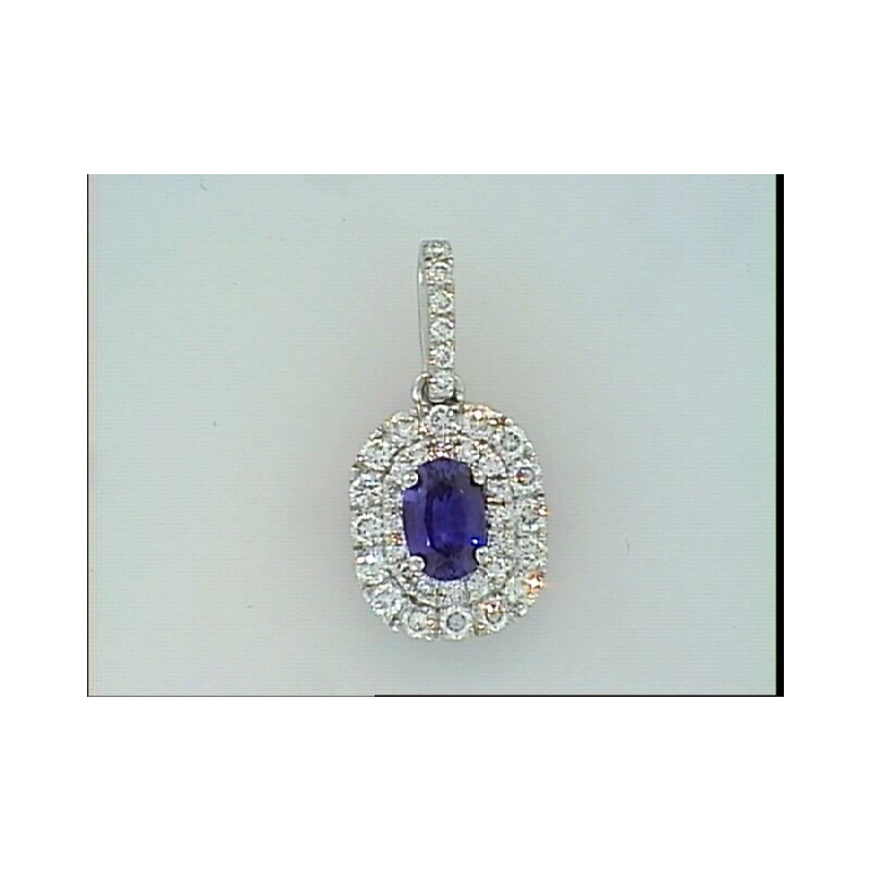 Showcase Collection Double Halo Sapphire Pendant