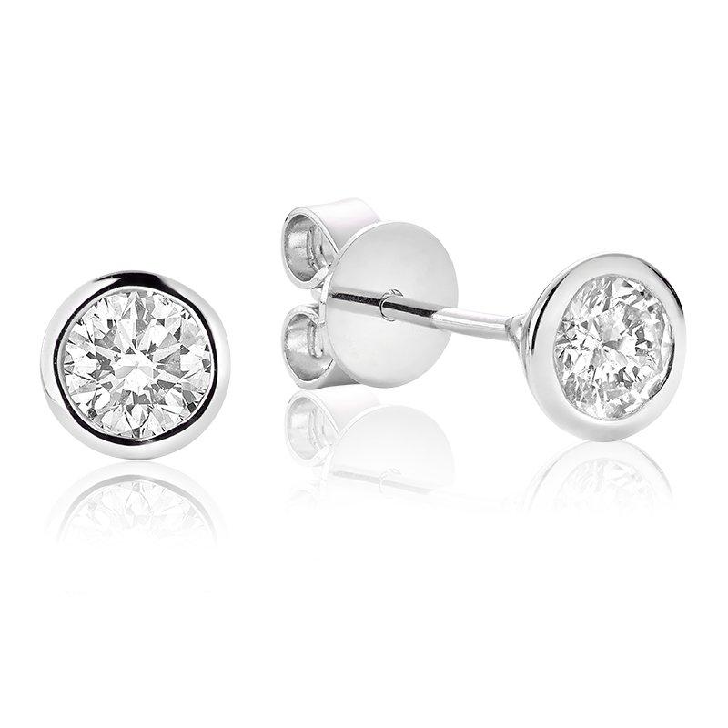 Showcase Collection 14KW Bezel Set Diamond Earrings