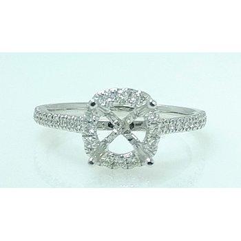 18KW Halo Semi Set Engagement Ring