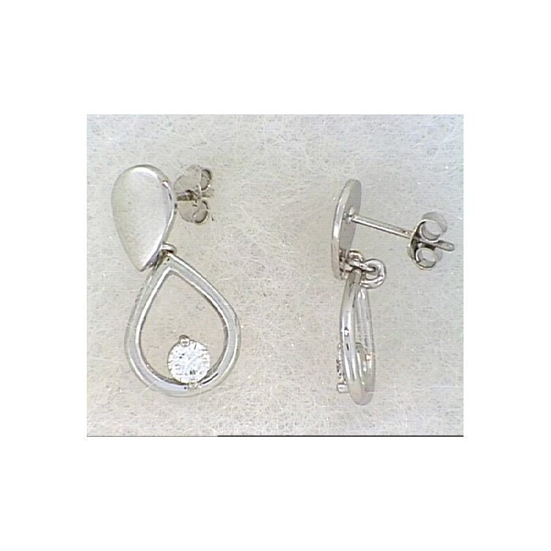 Showcase Collection 14KW Tear Drop Earrings with Diamond Accent