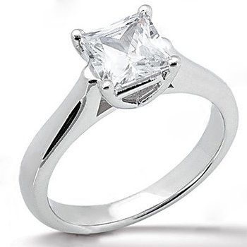 14K White Gold 0.25 Carat Total Weight Princess Cut Diamond Solitaire