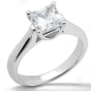 14K White Gold 0.25 Carat Total Weight Princess Cut Diamond Solitaire