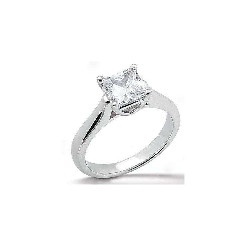 Grandis Signature 14K White Gold 0.25 Carat Total Weight Princess Cut Diamond Solitaire