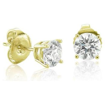 14K Yellow Gold Diamond Stud Earrings 0.57 ctw