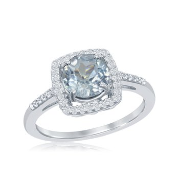 Sterling Silver Blue Topaz Halo Ring
