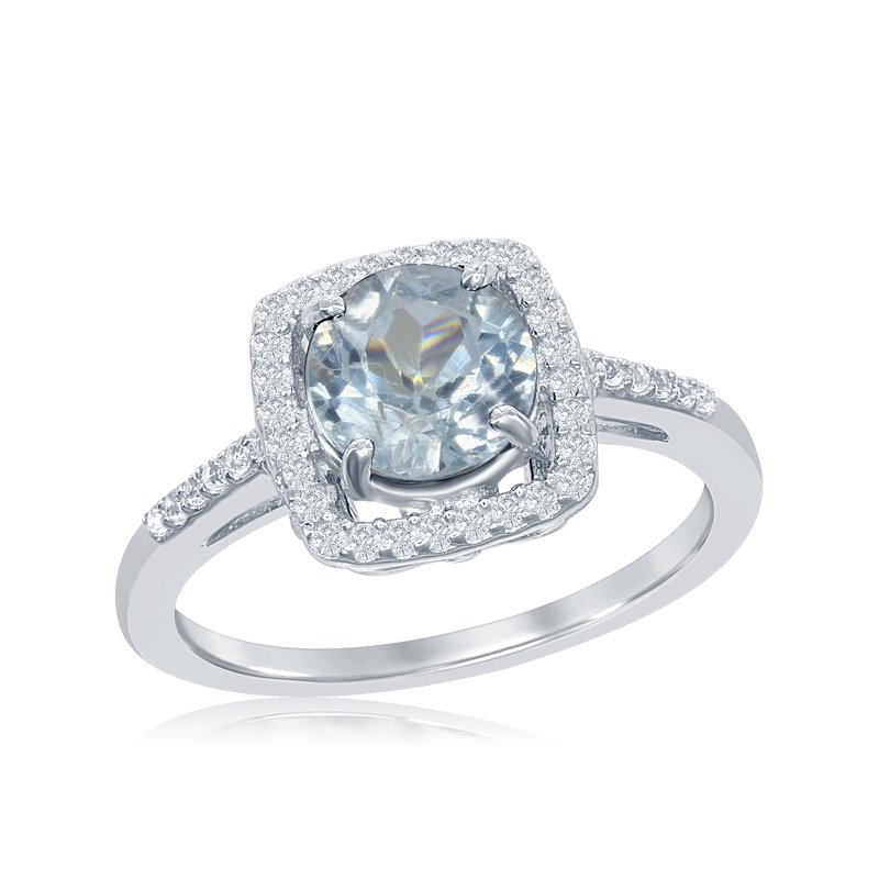 Showcase Collection Sterling Silver Blue Topaz Halo Ring