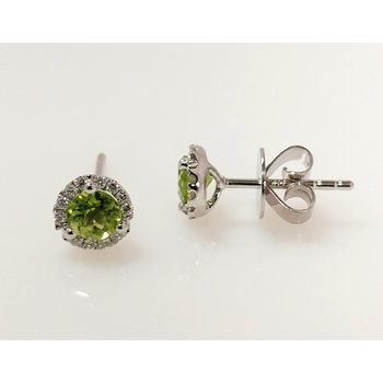 Peridot Halo Earrings