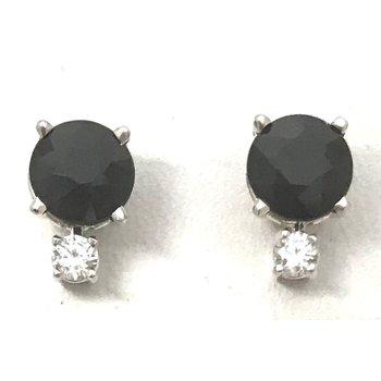 Sterling Silver Black Sapphire Earrings
