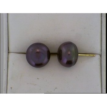 11-12mm Fresh Water Black Dyed Pearl Earring