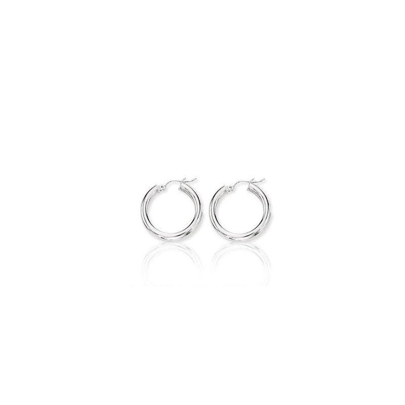 Grandis Signature 10K White Gold Hoop Earrings
