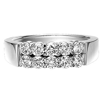 Double Row Diamond Band Ring in 14K White Gold 1.00 ctw HDR14261D