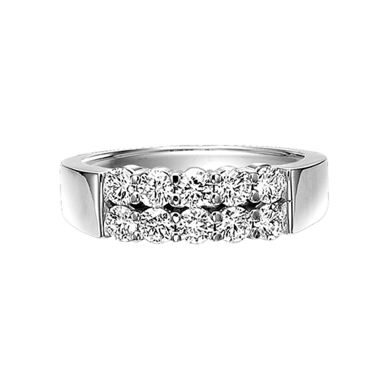 Grandis Signature Double Row Diamond Band Ring in 14K White Gold 1.00 ctw HDR14261D