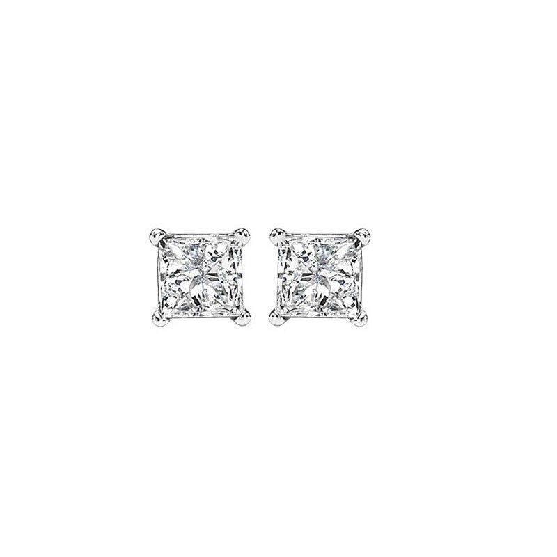 Grandis Signature Princess Cut Diamond Solitaire Earrings 0.50 ctw    gjPCWA1/2