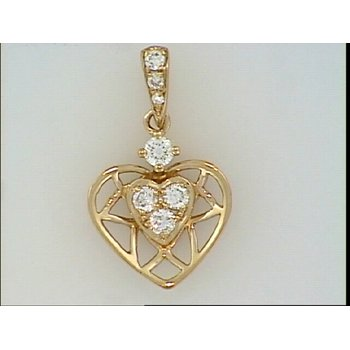 14KR Heart Pendant with Diamond Accents